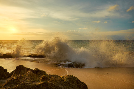 fort lauderdale: Amazing  beach destination sunrise or sunset with beautiful breaking waves Stock Photo