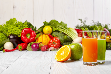 mixed vegetables: Various Freshly Vegetable Juices for Detox