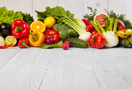 fruit and vegetables: Fruit and vegetable borders Stock Photo