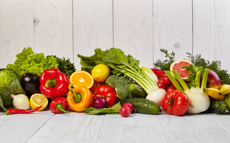 eating fruit: Fruit and vegetable borders Stock Photo
