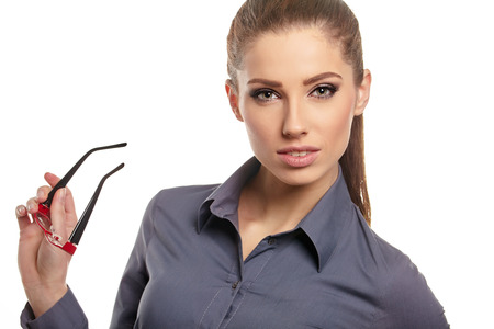 grin: business woman with  glasses