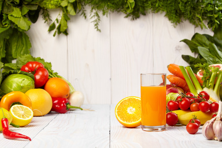 refreshment: healthy vegetable juices for refreshment and as an antioxidant Stock Photo