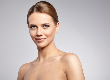 mid: Natural Beauty Portrait. Beautiful Spa Woman . Perfect Fresh Skin.