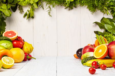 edibles: Fruit and vegetable borders Fruit and vegetable borders on wood table