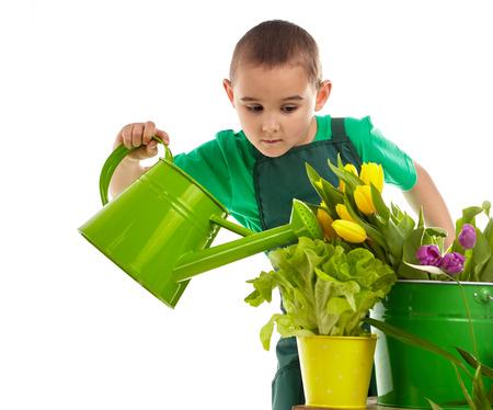 wellingtons: Little gardener boy, isolated on white Stock Photo