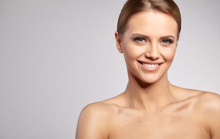 purity: Natural Beauty Portrait. Beautiful Spa Woman . Perfect Fresh Skin.