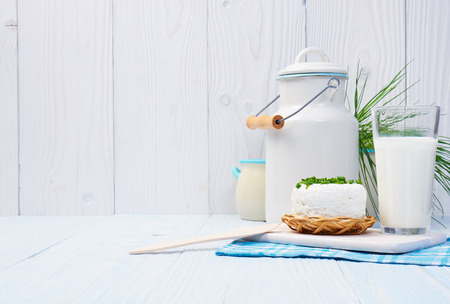 milk jug: Chives, milk jug and cottage chease Stock Photo