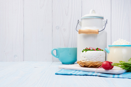 light breakfast: Components of a healthy breakfast. Dairy products. Stock Photo