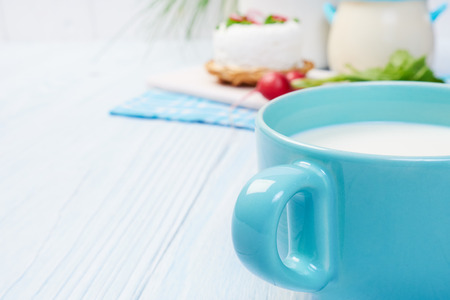 sour clover: mug with milk on vintage table