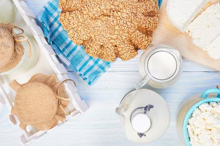 alimentacion sana: Productos lacteos. Comida saludable. Foto de archivo