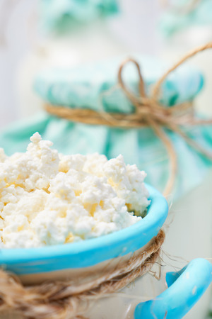 Sour cream: Milk products. Healthy food. Stock Photo