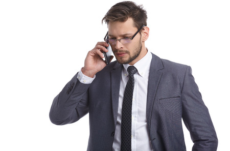 telephone salesman: Businessman nervously talking on the phone