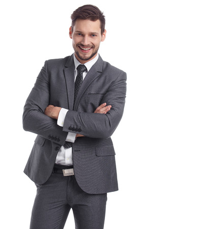 Unternehmen, Menschen und Bürokonzept - glückliche lächelnde Geschäftsmann im Anzug