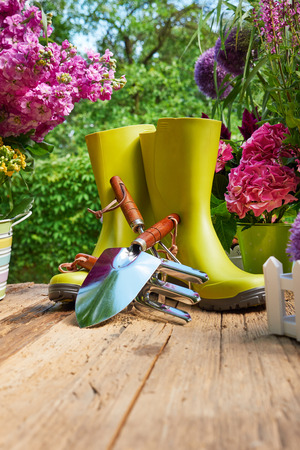 Gardening tools and flowers  on the terrace in the garden Archivio Fotografico