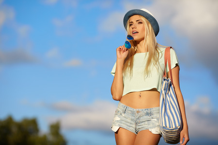 Summer hipster girl Stock Photo