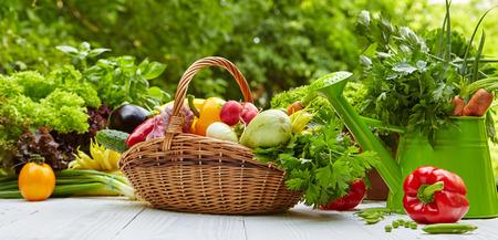 verduras verdes: Verduras y frutas orgánicas frescas en la mesa de madera en el jardín