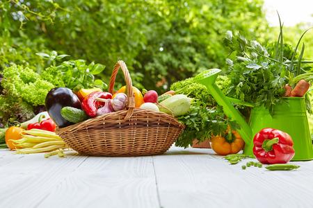 corbeille de fruits: Des légumes biologiques frais et des fruits sur la table en bois dans le jardin Banque d'images