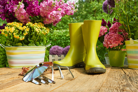 pottery: Gardening tools and planting flowers