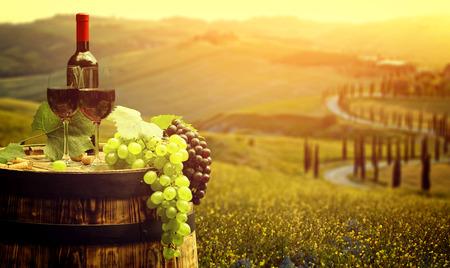 vid: Vino rojo con el barril en la viña en verde Toscana, Italia