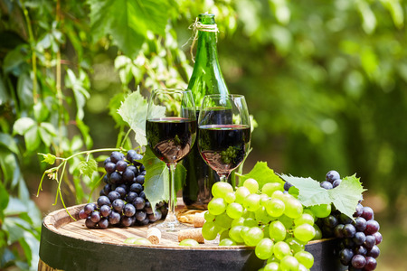 wine grape: Old wooden barrel with bottle and glass of red wine.
