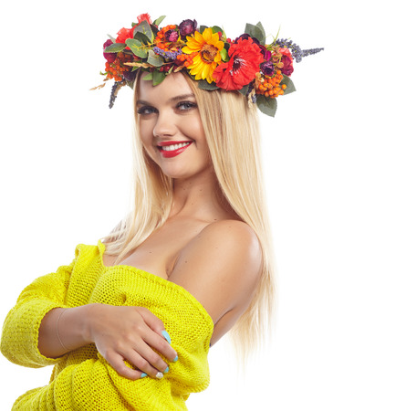 slavic: Slavic blonde girl in the flowers wreath Stock Photo