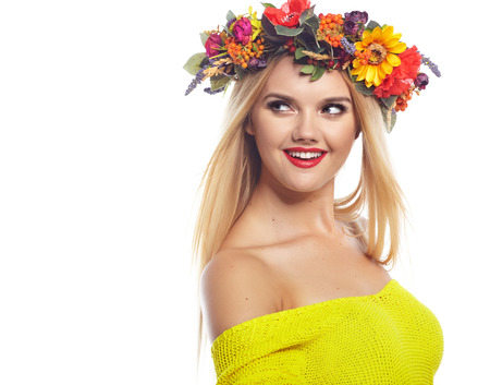 blonde females: Slavic blonde girl in the flowers wreath Stock Photo