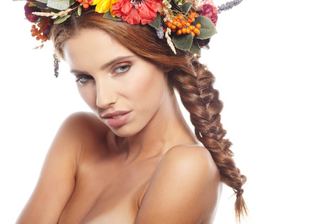 slavic: Portrait of a beautiful blonde with a wreath on her head Stock Photo
