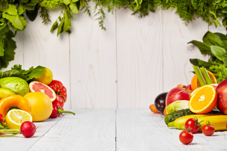 vegetables: Fruit and vegetable borders Stock Photo