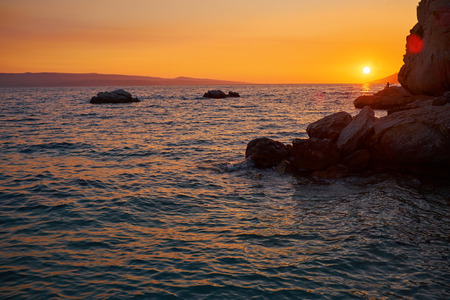 croatia: Sunset on beach  Sunset on the Adriatic. Croatia. Stock Photo