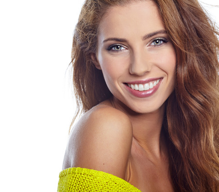wonderful: Portrait of wonderful young woman with long hair looking at camera Stock Photo