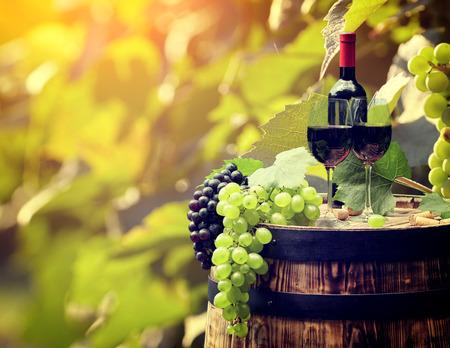Vineyard: Botella de vino tinto y copa de vino en barrica wodden.