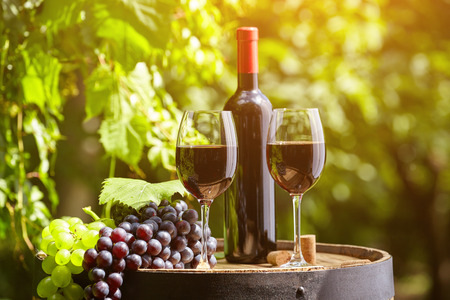 bottle wine: Old wooden barrel with glass of red wine.