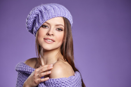 warm clothing: beautiful woman in warm clothing