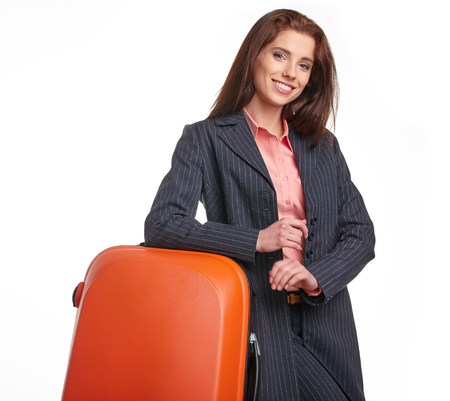business traveller: young female business traveller portrait Stock Photo