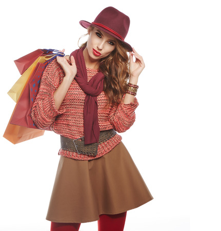 Autumn woman with shopping bags