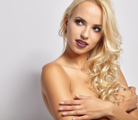 nude blonde woman: Portrait of sexy woman