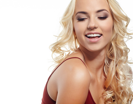 brown eyes: Portrait of beautiful young blond woman with clean face
