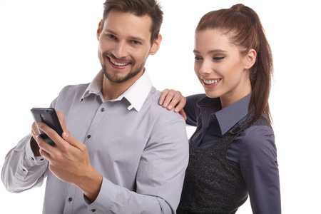 using phone: Young couple take selfie using mobile phone Stock Photo