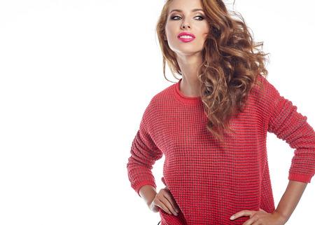 brunette woman: Amazing beautiful brunette woman in autumn color Stock Photo