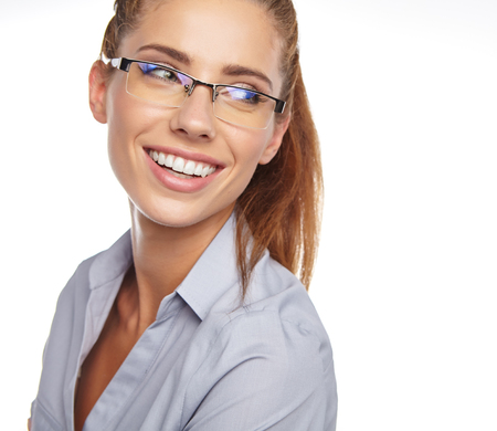 happy work: portrait of attractive caucasian smiling woman isolated on white studio with glasses Stock Photo