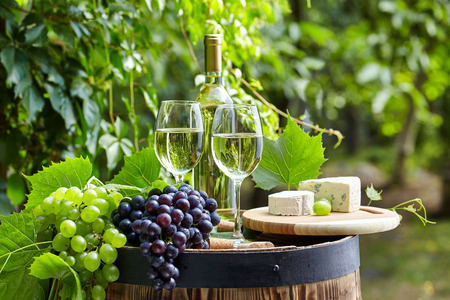 wine glasses: The glass of wine an and old barrel and grape