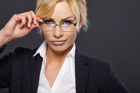 business contact: business woman in glasses