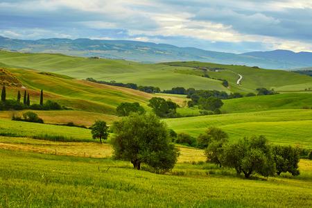 Toscana, paisaje rural de la puesta del sol. granja de campo, cipreses, árboles de campo verde, luz del sol y de la nube.
