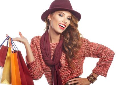 Vrouw en de herfst winkelen Stockfoto
