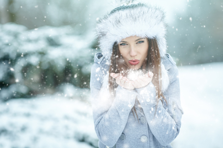 nature beauty: Young woman in winter portrait Stock Photo