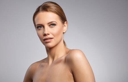 beautiful middle aged woman: Beautiful Woman with Perfect Fresh Skin. Stock Photo