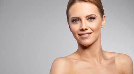 age old: Beautiful Woman with Perfect Fresh Skin. Stock Photo
