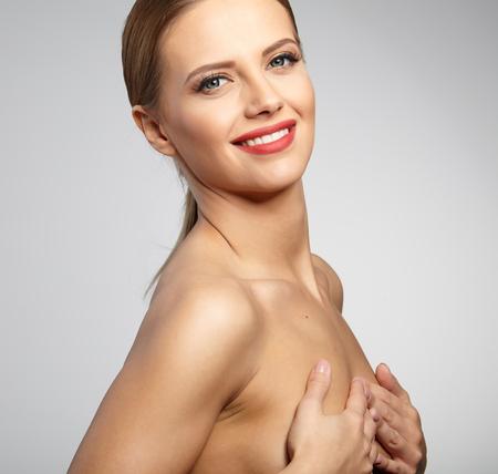 mammography: Beautiful Woman with Perfect Fresh Skin. Stock Photo