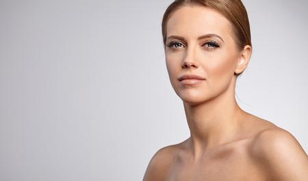 skin care woman: Beautiful Woman with Perfect Fresh Skin. Stock Photo