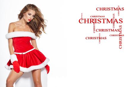 papa noel: hermosa chica sexy vistiendo ropa de Papá Noel
